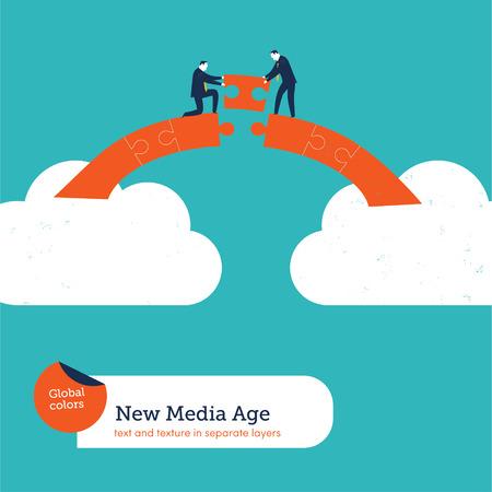 Los hombres de negocios que construyen un puente rompecabezas de nube en nube. Ilustración del vector EPS10 archivo. Mundial de colores. Texto y textura en capas separadas.