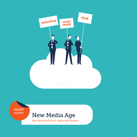 Businessmen on a cloud with banners. Vector illustration Eps10 file. Global colors. Text and Texture in separate layers.