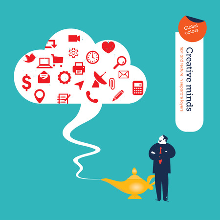 Businessman with magic lamp and cloud with many icons. Vector illustration Eps10 file. Global colors. Text and Texture in separate layers. Vector