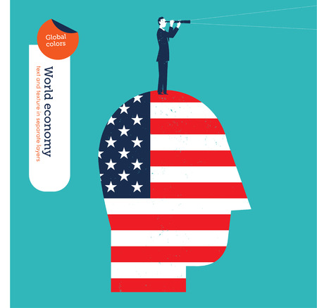 forefront: Businessman on a head with American flag and spyglass. Vector illustration Eps10 file. Global colors. Text and Texture in separate layers.