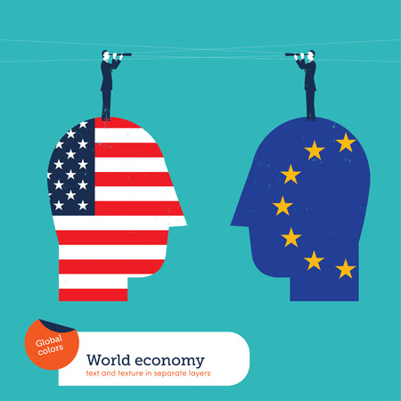 forefront: Businessmen with spyglasses on heads with american and european flags. Vector illustration file. Global colors. Text and Texture in separate layers.