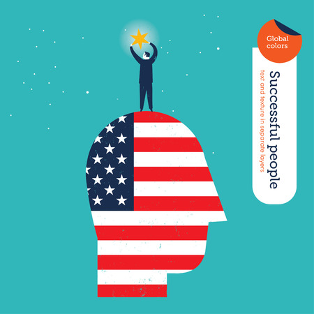 Businessman catching a star on an American flag head. Vector illustration file. Global colors. Text and Texture in separate layers. Vector