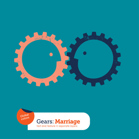 cooperating: Gear head business relationships. Vector illustration file. Global colors. Text and Texture in separate layers.