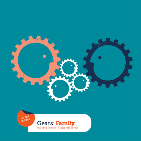 gear head: Gear head family. Vector illustration file. Global colors. Text and Texture in separate layers Illustration