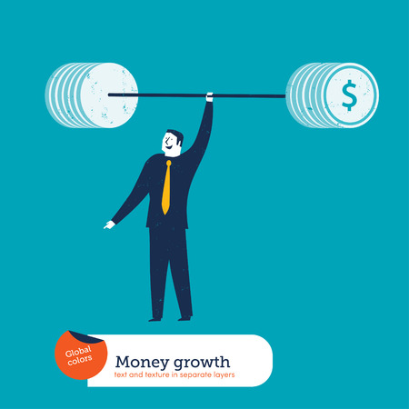 Businessman with money weightlifter. Vector illustration Eps10 file. Global colors. Text and Texture in separate layers. Vector