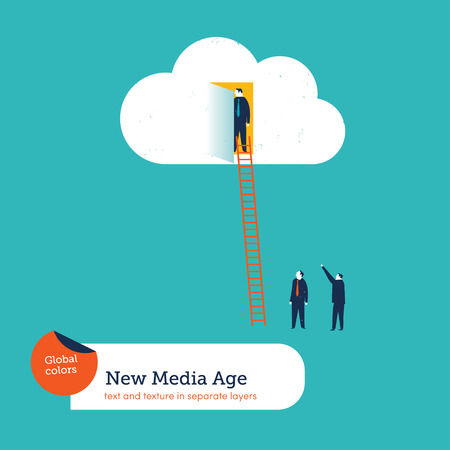 Businessman in a cloud others waiting. Vector illustration Eps10 file. Global colors. Text and Texture in separate layers. Ilustrace