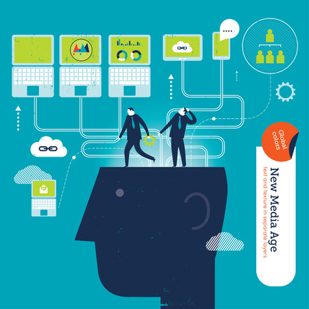 Businessmen on heads with computers and tablets. Vector illustration Eps10 file. Global colors. Text and Texture in separate layers. Illustration