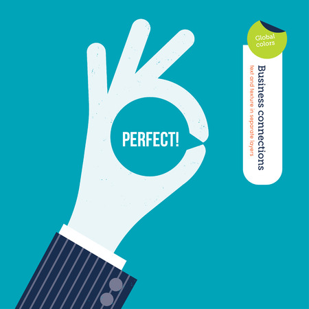 laundering: OK hand with message symbol and the word perfect inside. Vector illustration Eps10 file. Global colors. Text and Texture in separate layers.