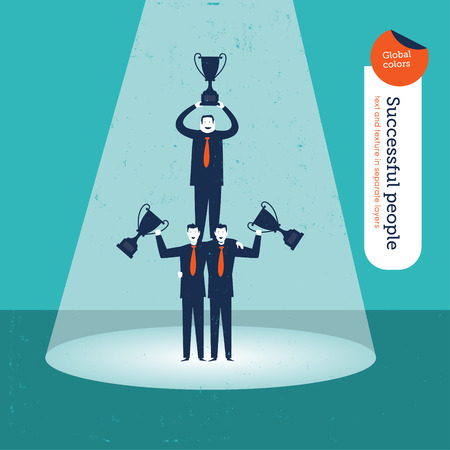 Pyramid of Businessmen with trophies. Vector illustration Eps10 file. Global colors. Text and Texture in separate layers. Illustration