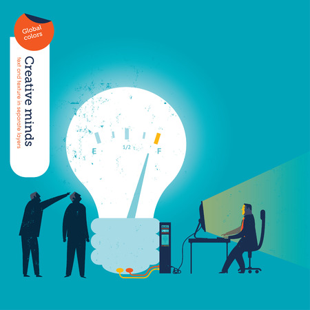 mania: Businessman working with computer branched to a bulb.  Illustration