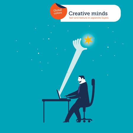 average: Businessman catching a star from his laptop. Illustration