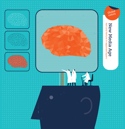 coordinating: Scientists controlling an electronic brain in a head.  Illustration