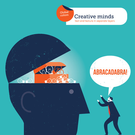 abracadabra: Businessman opening to head with the magical words abracadabra. Vector illustration Eps10 file. Global colors. Text and Texture in separate layers. Illustration