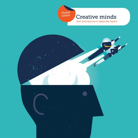 evolucion: Empresario y la mujer de volar de una cabeza bombilla con cohetes. Ilustración del vector Eps10 archivo. Mundial de colores. Texto y textura en capas separadas.