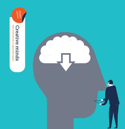 steal brain: Hacker stealing information from a brain.