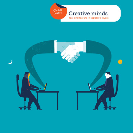 personas saludandose: Los hombres de negocios en diferentes partes del mundo, dando la mano a los ordenadores portátiles.