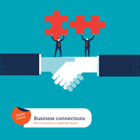 Businessmen on a handshake With matching puzzle pieces. Vector illustration Eps10 file. Global colors. Text and Texture in separate layers. Illusztráció