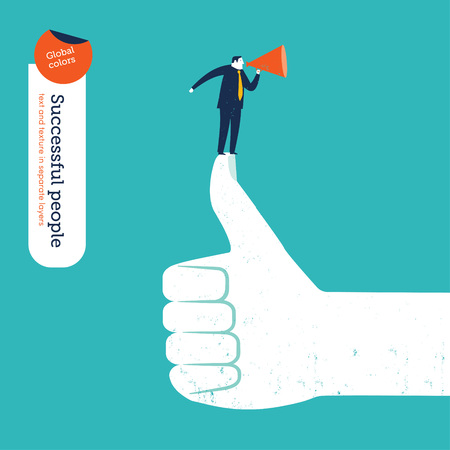 conquering adversity: Ok hand with coach and megaphone on thumb. Vector illustration Eps10 file. Global colors. Text and Texture in separate layers. Illustration