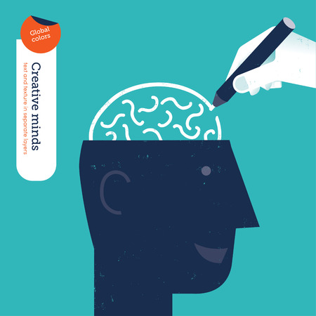 conquering: Hand drawing a brain in a head. Vector illustration Eps10 file. Global colors. Text and Texture in separate layers.
