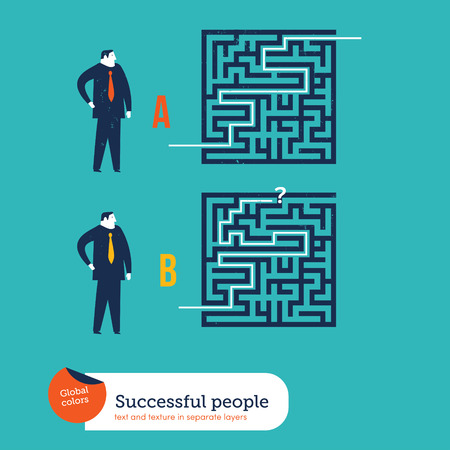 conquering adversity: Businessmen using different ways to go out from a maze. Vector illustration Eps10 file. Global colors. Text and Texture in separate layers. Illustration