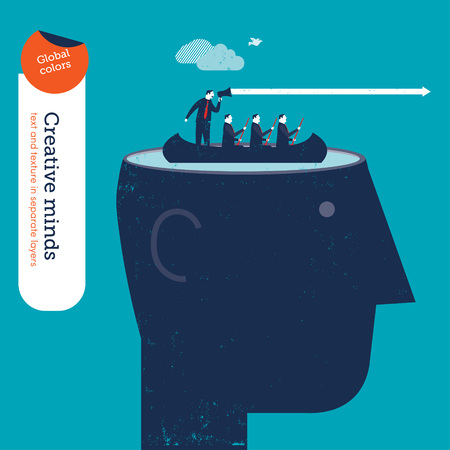 conquering: Head with business rowers and coach. Vector illustration Eps10 file. Global colors. Text and Texture in separate layers.