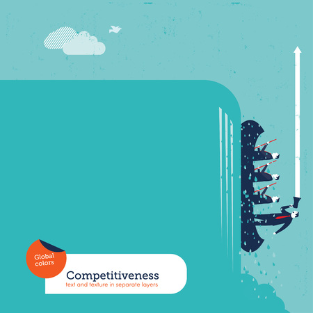 conquering adversity: Businessmen With coach rowers on a cascade upwards. Vector illustration Eps10 file. Global colors. Text and Texture in separate layers.