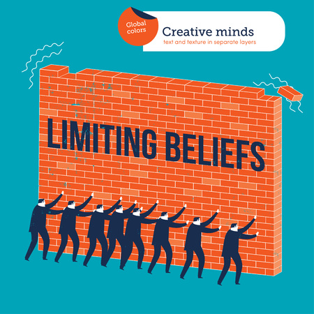 Businessmen knocking down a wall with limiting beliefs. Vector illustration Eps10 file. Global colors. Text and Texture in separate layers.