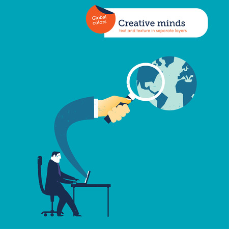 forefront: Businessman with laptop hand coming out with loupe searching the whole world. Vector illustration file. Global colors. Text and Texture in separate layers. Illustration