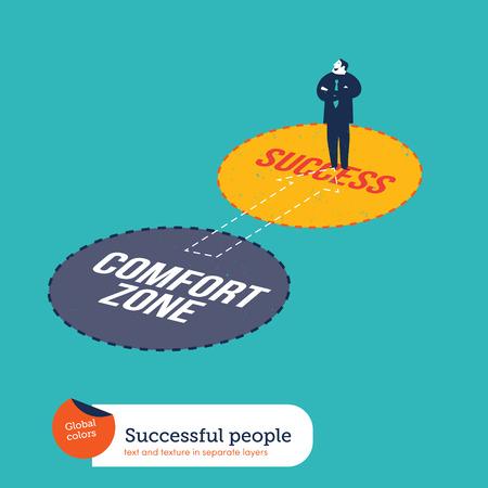 tr�sten: Businessman Ging Erfolg von Komfort-Zone zu Zone. Vektor-Illustration EPS10 Datei. Globale Farben. Text und Textur in separaten Ebenen. Illustration