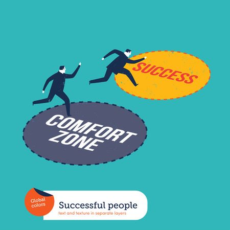 tendency: Businessmen running out of the comfort zone to success zone. Vector illustration Eps10 file. Global colors. Text and Texture in separate layers.