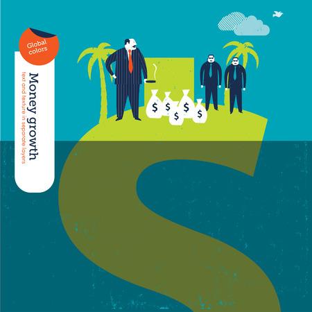 Jefe de la mafia en una isla con el dinero y gards dinero cuerpo. Ilustración del vector Eps10 archivo. Mundial de colores. Texto y textura en layers.00 separada