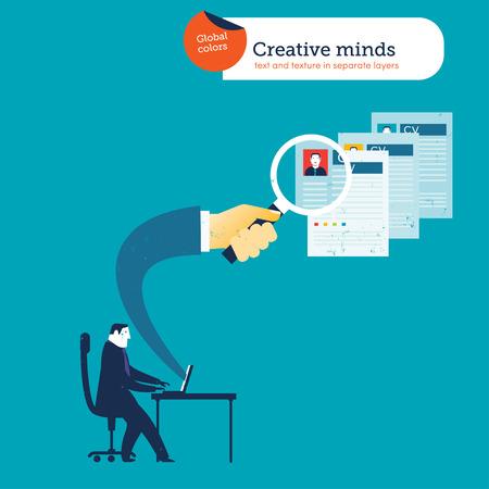 liderazgo: Hombre de negocios con un ordenador port�til una mano que sale con una lupa en busca CV. Ilustraci�n del vector Eps10 archivo. Mundial de colores. Texto y textura en capas separadas. Vectores