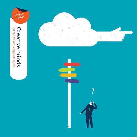indeciso: Hombre de negocios en una encrucijada y una nube le est� mostrando el camino. Ilustraci�n del vector Eps10 archivo. Mundial de colores. Texto y textura en capas separadas.
