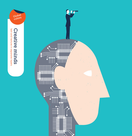 forefront: Robotic head with businessman and spyglass. Vector illustration Eps10 file. Global colors. Text and Texture in separate layers.