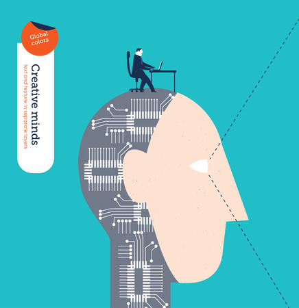robot: Robotic head with businessman and laptop. Vector illustration Eps10 file. Global colors. Text and Texture in separate layers.