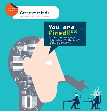 firing: Robotic head firing an employee. Vector illustration Eps10 file. Global colors. Text and Texture in separate layers.