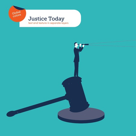 justice hammer: Businessman standing on a hammer of justice With spyglass.