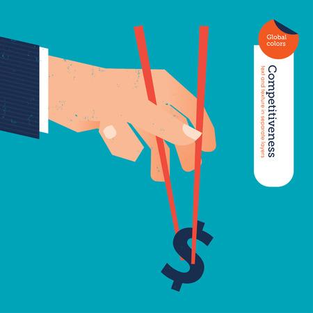 chopstick: Hand with chopstick picking a dollar sign.  Illustration