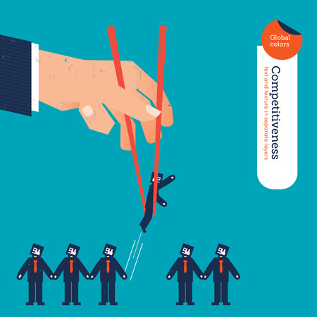 chopstick: Hand with chopstick picking a businessman from a group.  Illustration