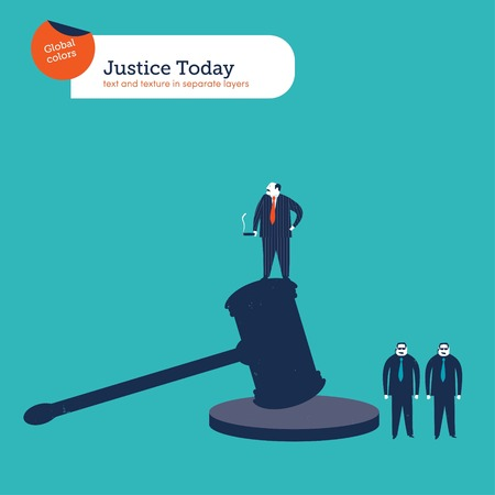 proceeding: Good fella standing on a hammer of justice With bodyguards. Vector illustration