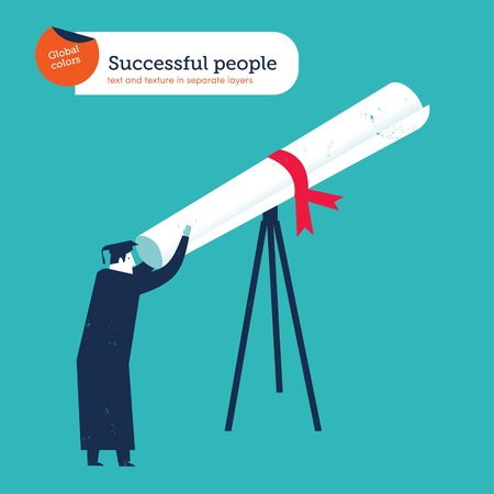 job search: Graduate Diplomas looking through a telescope. Vector illustration