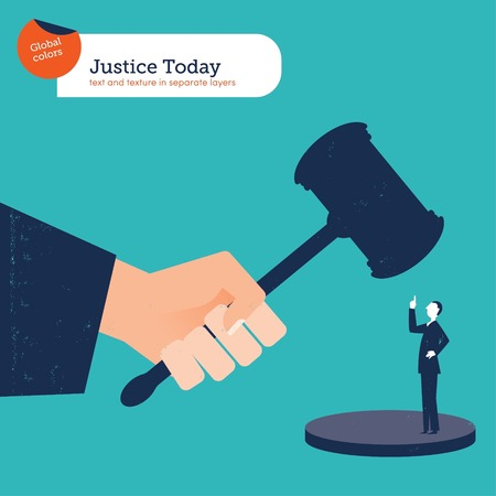 lawyer in court: Businessman rebelling Against the Law. Vector illustration