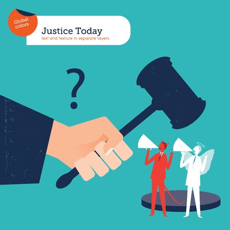 judge: Judge with hammer of justice angel and demon.