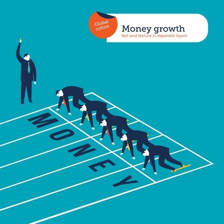 athletics track: Businessmen runners on a money athletics track.