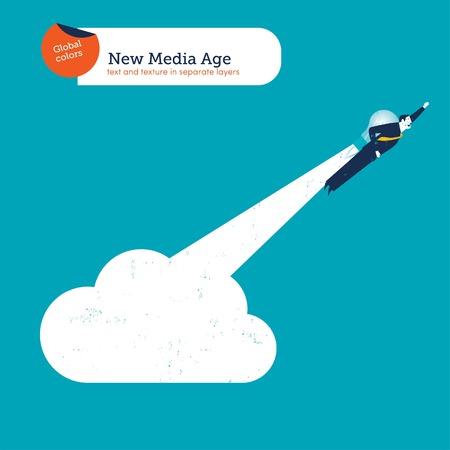 taking off: Hombre de negocios con bombilla cohete despegando desde una nube.