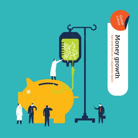 Geld varken geld krijgen van een bloedtransfusie. Vector illustratie. Global kleuren. Tekst en textuur in afzonderlijke lagen.