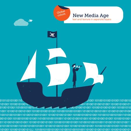 pirata: Pirata en el barco de un pirata a digital es. Ilustración vectorial archivo. Mundial de colores. Texto y textura en capas separadas.