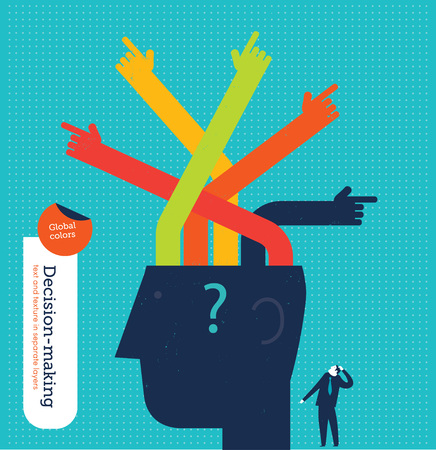 conquering adversity: Head with hands showing different directions. Vector illustration Eps10 file. Global colors. Text and Texture in separate layers. Illustration