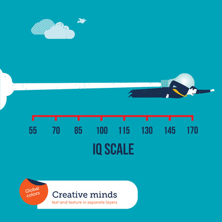 iq: Businessman flying with a rocket bulb on an IQ scale. Vector illustration Eps10 file. Global colors. Text and Texture in separate layers.