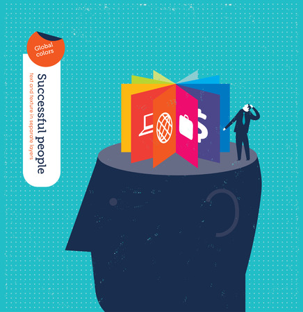 conquering adversity: Head with icons. Vector illustration  file. Global colors. Text and Texture in separate layers. Illustration